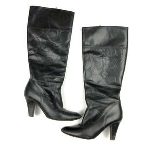 Coach Shoes - Coach Mille black leather logo heel boots 7.5